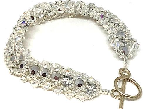 White Crystal Flat Spiral Beadweaving Bracelet