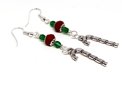 Red Green Christmas Candy Cane Charm Earrings