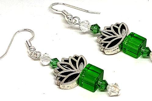 Green Cube Lotus Bead Earrings
