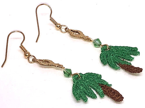 Palm Tree with Metal Connector 3 Earrings