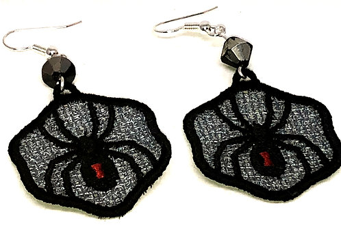 Halloween Black Widow Spider Earrings
