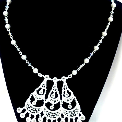Trinity Lace and Beads Bridal Necklace