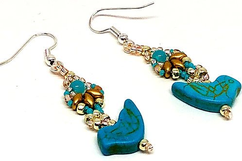 Turquoise Gold Silver Shell Bird Earrings