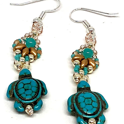 Turquoise Gold Silver Shell Turtle Earrings
