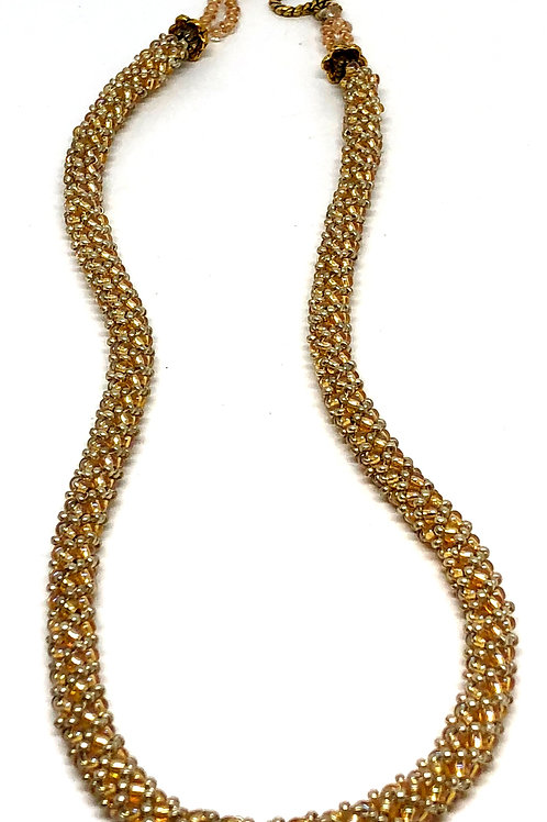 Gold Silver Russian Spiral Beadweaving Necklace