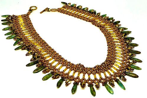 Gold Turquoise Picasso Netting Beadweaving Necklace