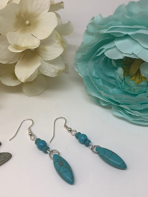 Turquoise Stone Oval Points Dangle Earrings