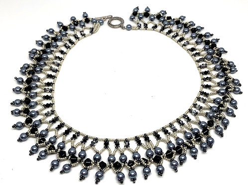 Black Silver and Pearl Netting Beadweaving Necklace