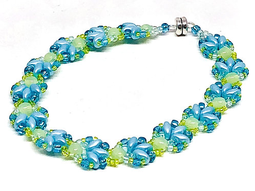 Blue Green Shell Beadweaving Bracelet