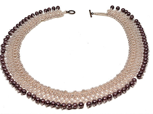Pink Mauve Pearl Netting Beadweaving Necklace