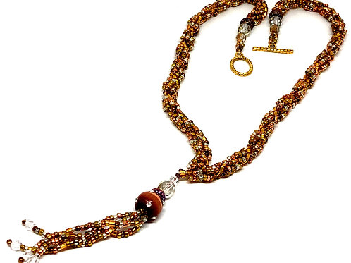 Bronze Copper with Tassle Spiral Beadweaving Necklace