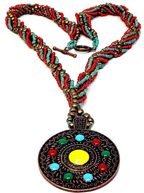 Red Turquoise Spiral with Pendant Necklace