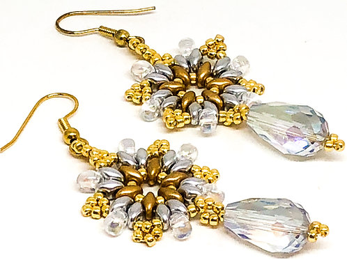 Gold Silver Crystal Snowflake with Crystal Drop Earrings