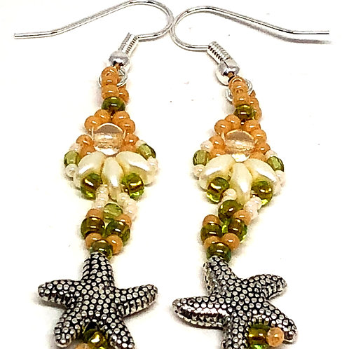 Peach Cream Shell Textured Starfish Earrings