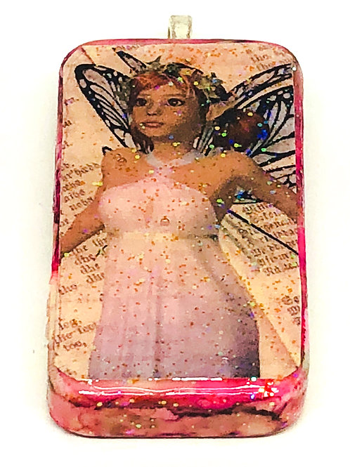 Purple Vintage with Words Background Fairy Altered Art Domino Pendant