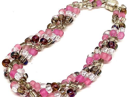 Pink Crystal Spiral Beadweaving Bracelet