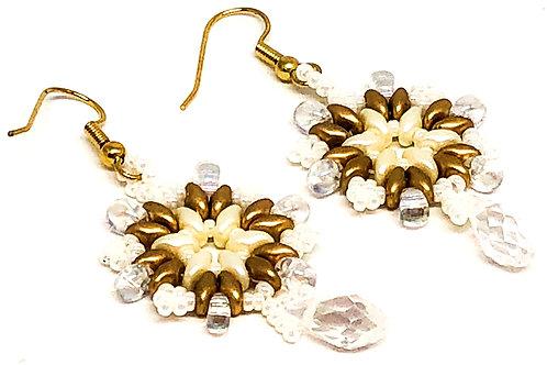 Gold Cream  Drop Snowflake Beadweaving Earrings