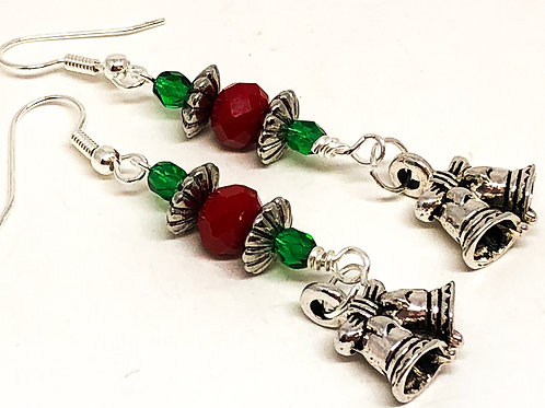Red Green Christmas Bell Charm Earrings