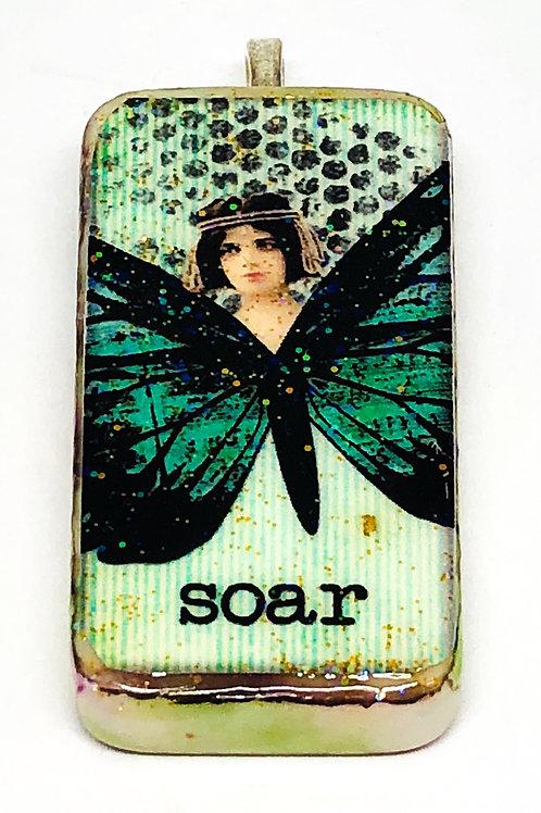 Green Vintage Girl Butterfly Altered Art Domino Pendant