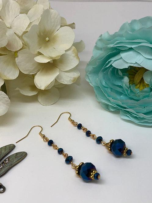 Metallic Blue Multi Drop Dangle Earrings