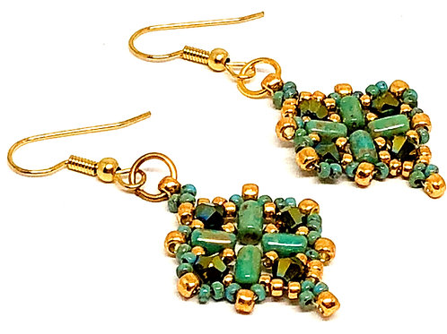 Turquoise Gold Diamond Earrings