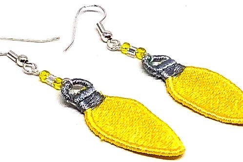 Yellow Christmas Bulb Earrings