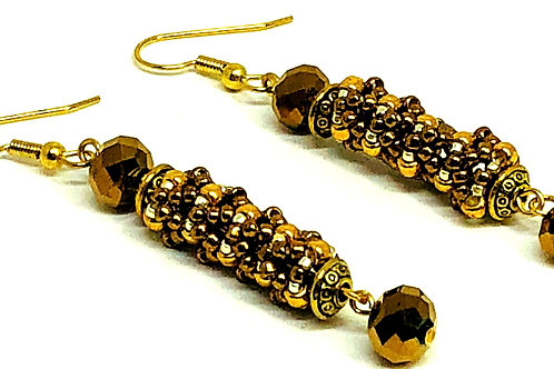 Copper Gold Bronze Swirl Beadweaving Earrings