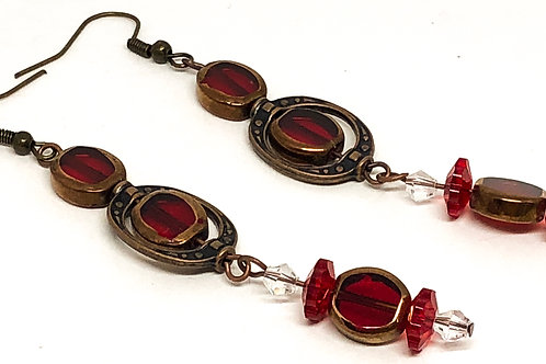 Red Bronze Earring Connector Dangle Earrings