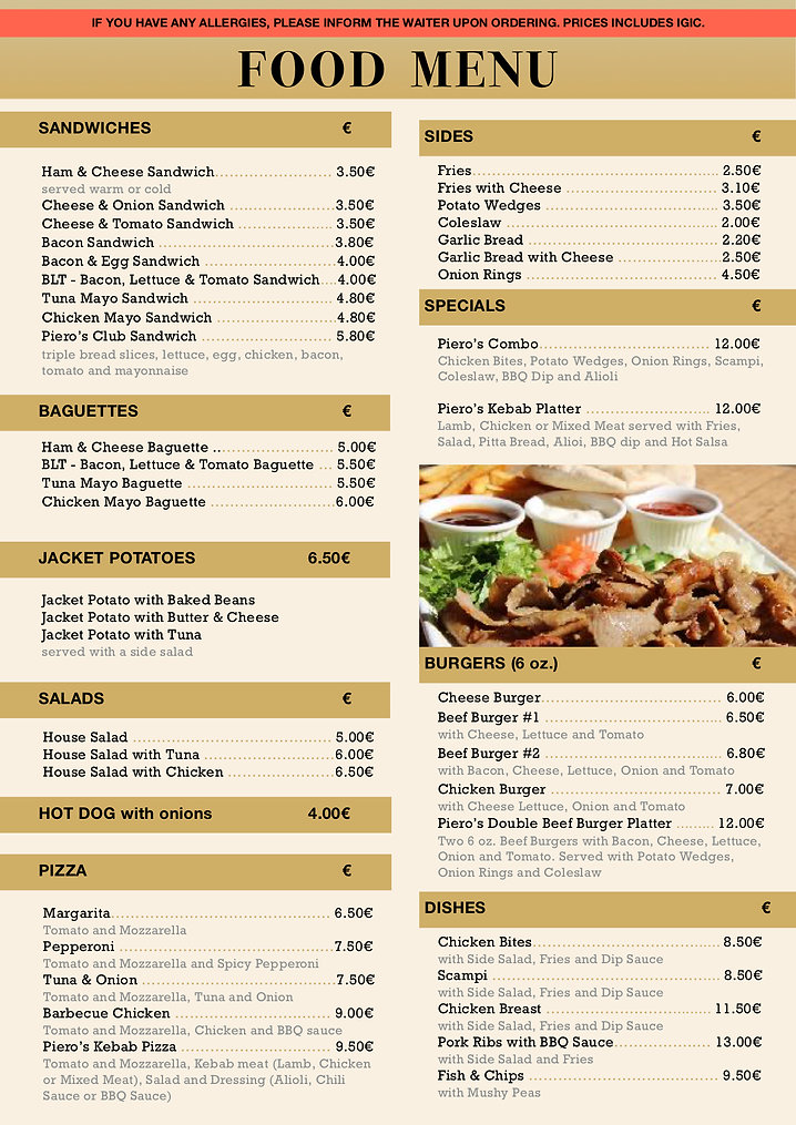 Pieros Cafe - Food Menu