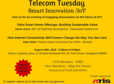 Telecom Tuesday - Aug 28th, 2018 - Smart Innovation / IoT