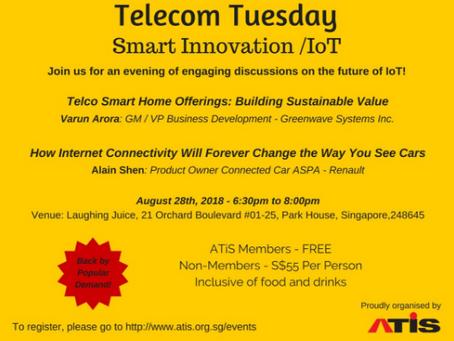 Telecom Tuesday - Aug 28th, 2018 - Smart Innovation / IoT