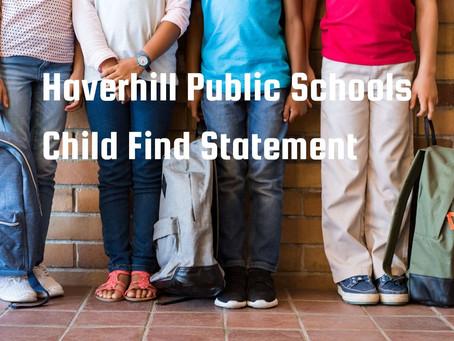 Haverhill Public Schools Child Find Statement