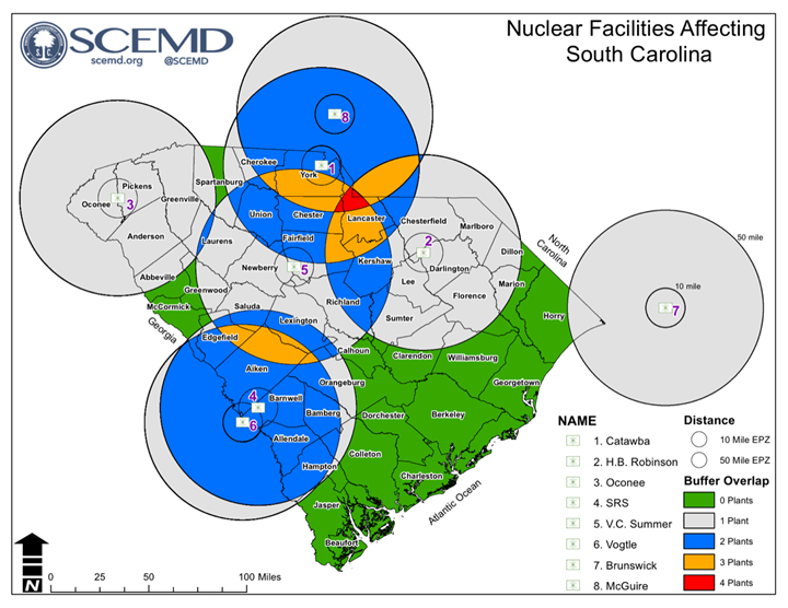 SC Nuclear Facilities Map