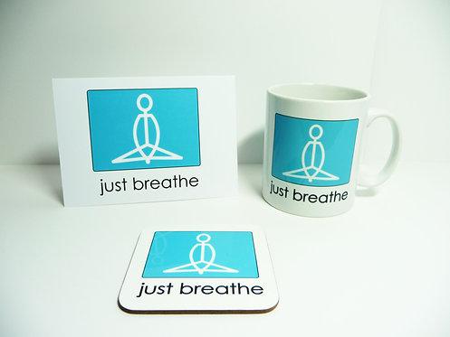 Yogastickmen Yoga Gifts - Just Breathe Flow Mug, Card and Coaster