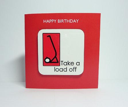Yogastickmen Yoga Gifts  - Take a Load Off Yoga Coaster Card Birthday Card