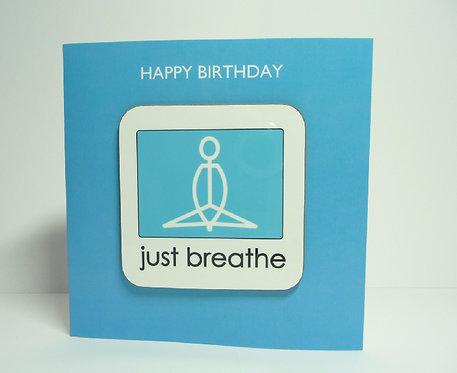 Yogastickmen Yoga Gifts  - Just Breathe Yoga Coaster Card Birthday Card