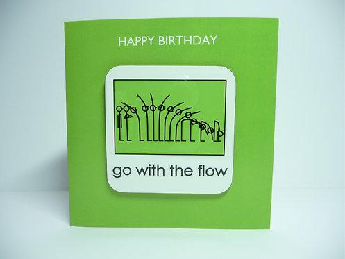 Yogastickmen Yoga Gifts  - Go with the Flow Yoga Coaster Card Birthday Card
