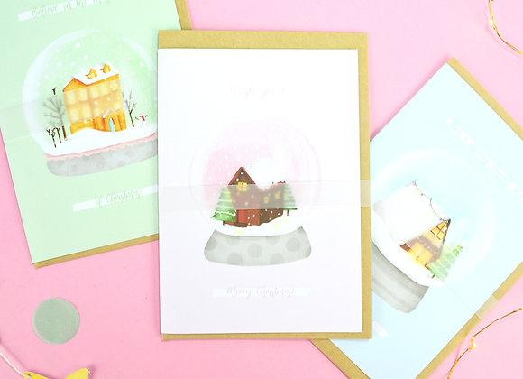 Greeting Card Pack Snow Globe