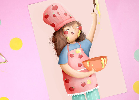 Cooking Girl Print