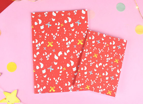 Candy Cane red notebook