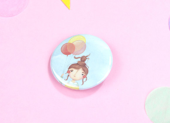 Baloon Girl Button Badge Design - 35mm Badge Cute Girl