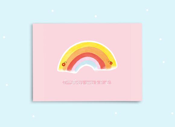 Rainbow Postcard - Everything's Going to be Okay Postcard