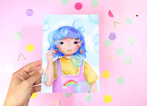 Bubble Girl Print