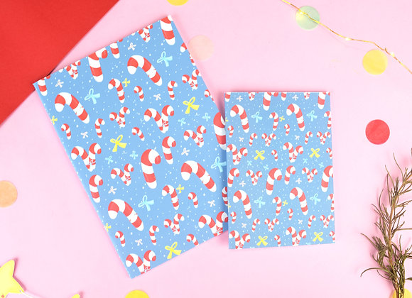 Candy Cane blue notebook