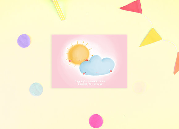 Sun and Cloud Postcard - There's Always Sun Behind the Clouds Postcard