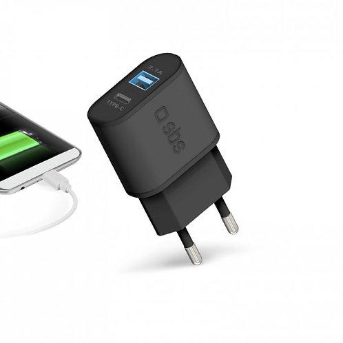 SBS Caricabatterie da viaggio USB e Type C