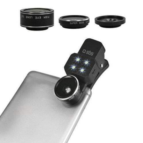 SBS Kit lenti (Fisheye, Wide, Macro, Flash) universali per smartphone a clip
