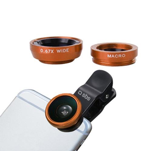 SBS Kit di Lenti 2 in 1 Universali per Smartphone, lente Wide Angle e Macro