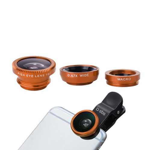SBS Kit lenti universali per smartphone a clip (Fish Eye, Macro, Wide angle)