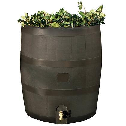 Round Rain Barrel With Planter - Walnut